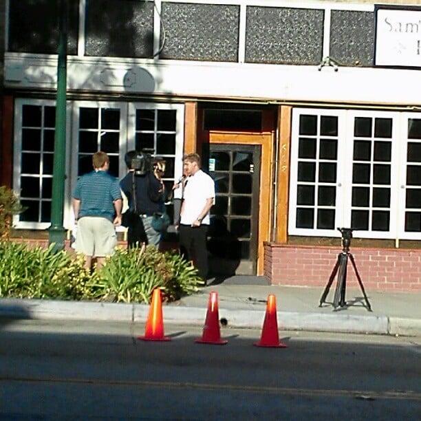 Chef Gordon Ramsey Interviewing Outside Restaurant.