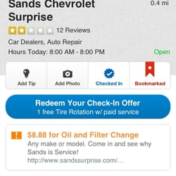 Sands chevrolet surprise coupons