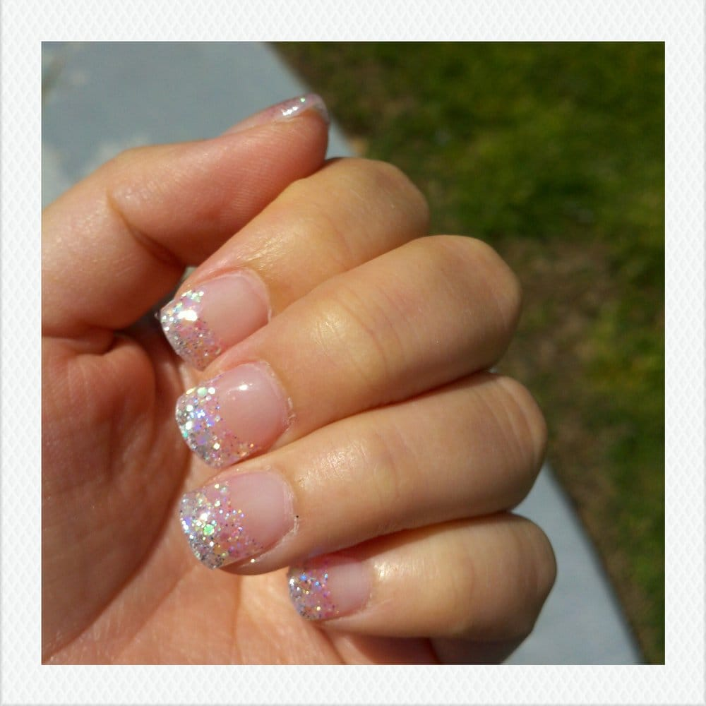 glitter tip - very light pink on the bottom, silver on the tip - Yelp
