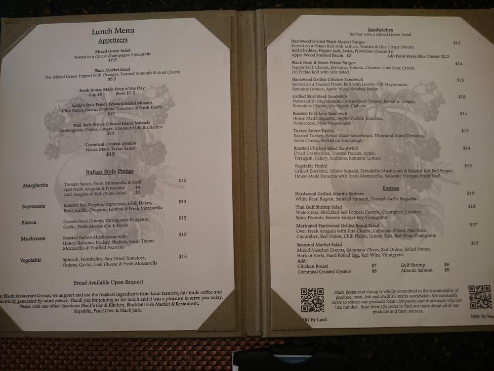 Black market bistro menu / San francisco cartwright hotel