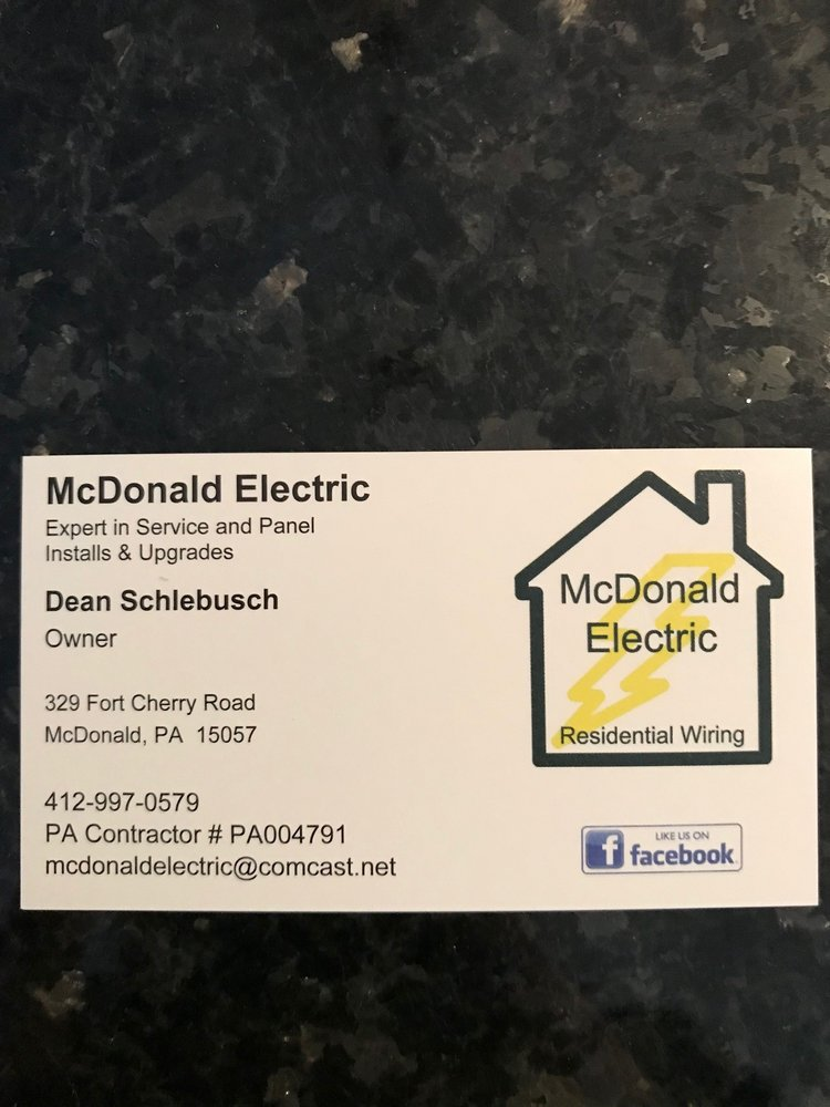McDonald Electric: 329 Fort Cherry Rd, Mc Donald, PA