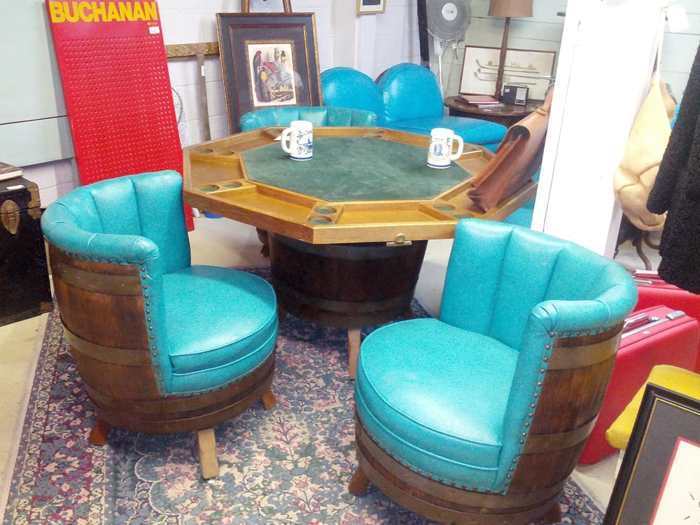 Mid Century Whiskey Barrel Chairs U0026 Poker Table...AWESOME ...