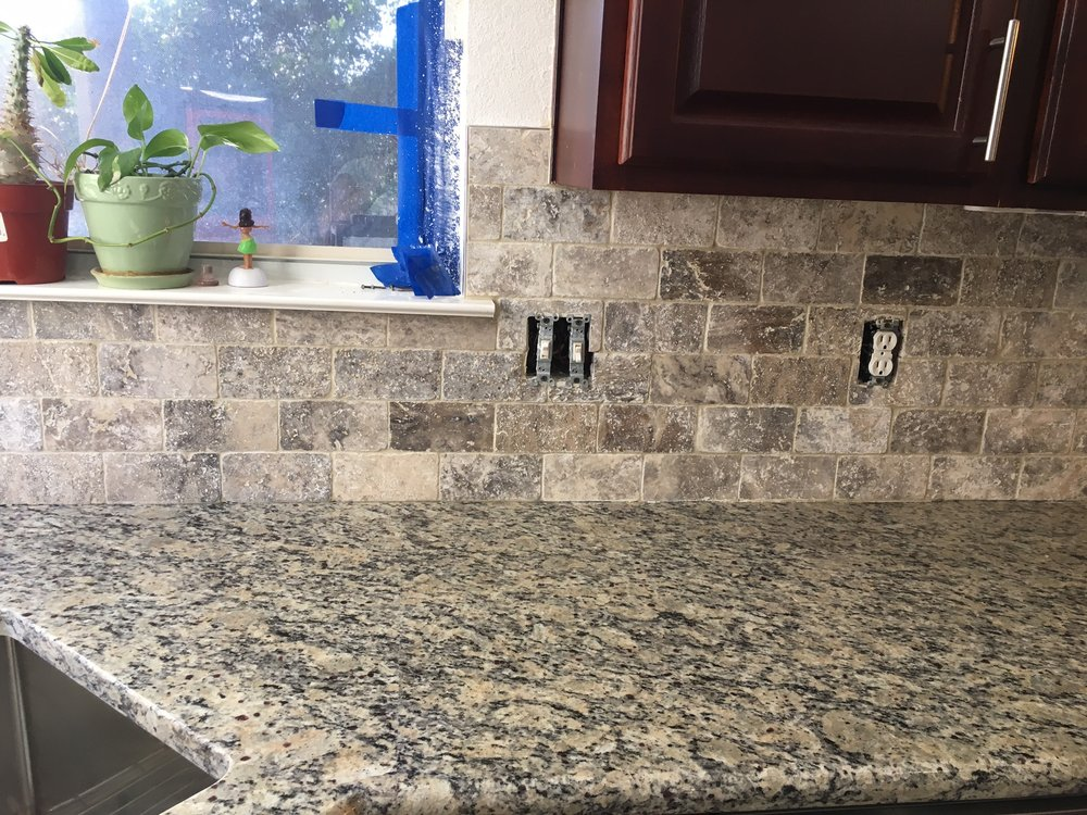Unsealed Silver Travertine back Splash from Flooring Warehouse
