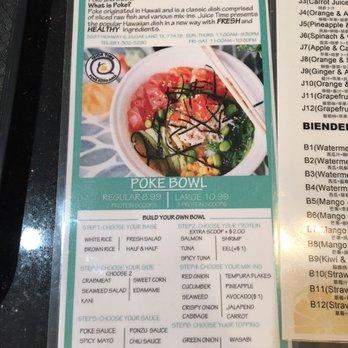 Juice time 189 photos 131 reviews juice bar for Fish me poke menu