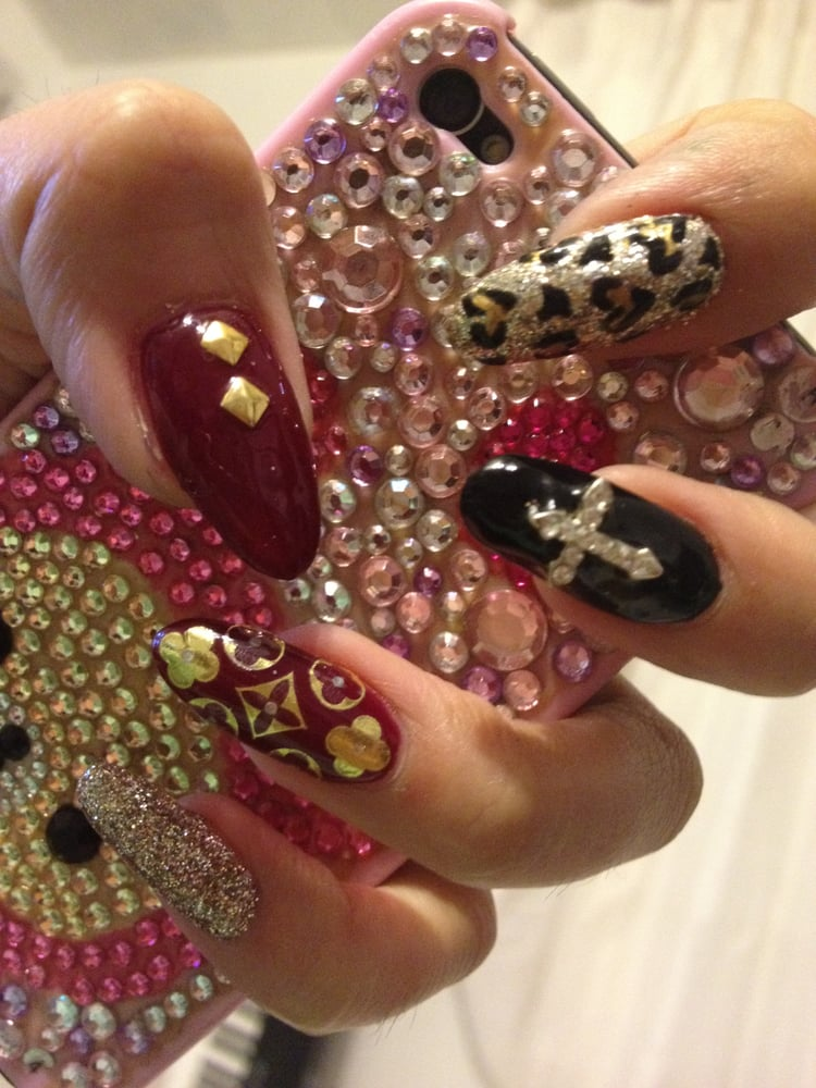 Louis Vuitton inspired cross stud nails by Lexi. instagram ...