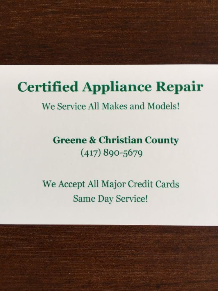 Certified Appliance Repair: Springfield, MO