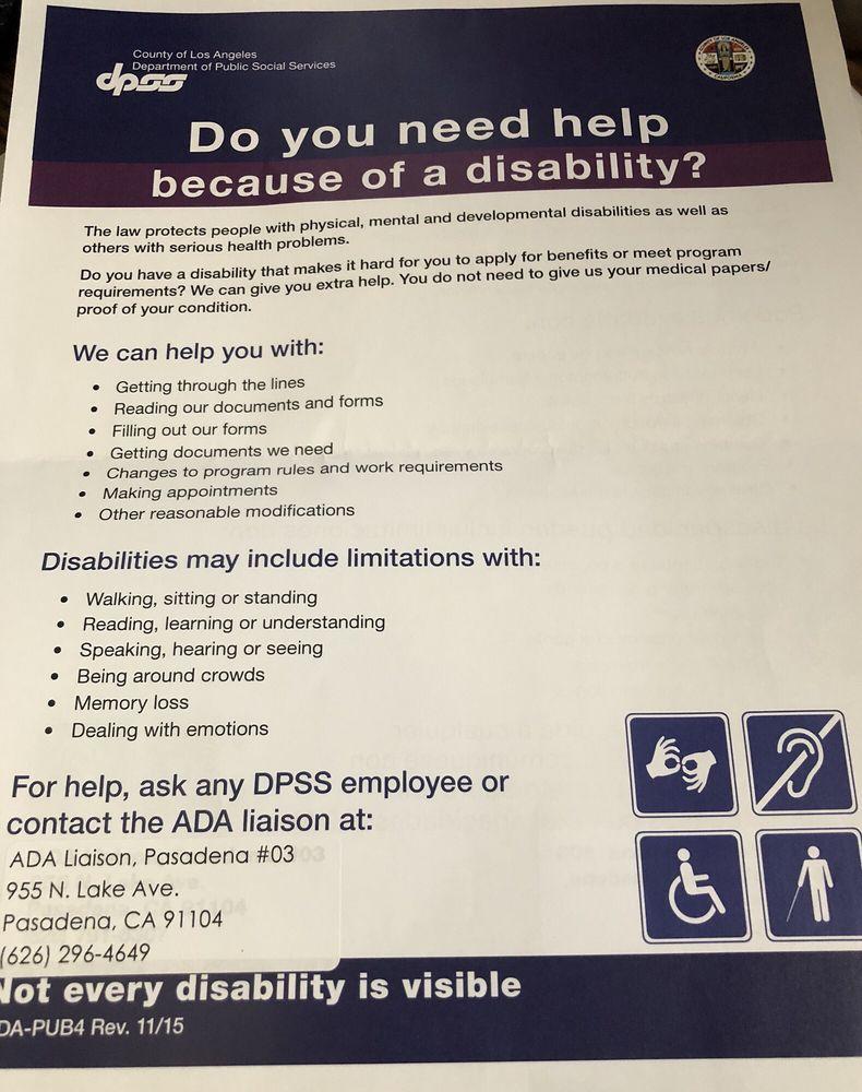 Department of Public Social Services: 955 N Lake Ave, Pasadena, CA