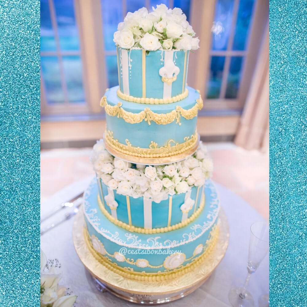 Elegant Blue And Gold Wedding Cake Yelp