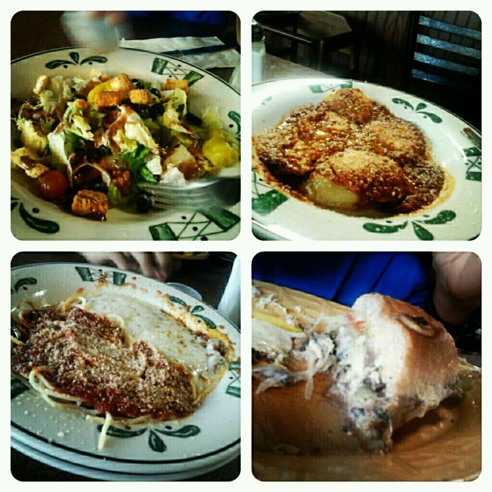 California Pizza Kitchen Houston: House Salad, Ravioli, Eggplant Parmesan, Veggie Sandwich