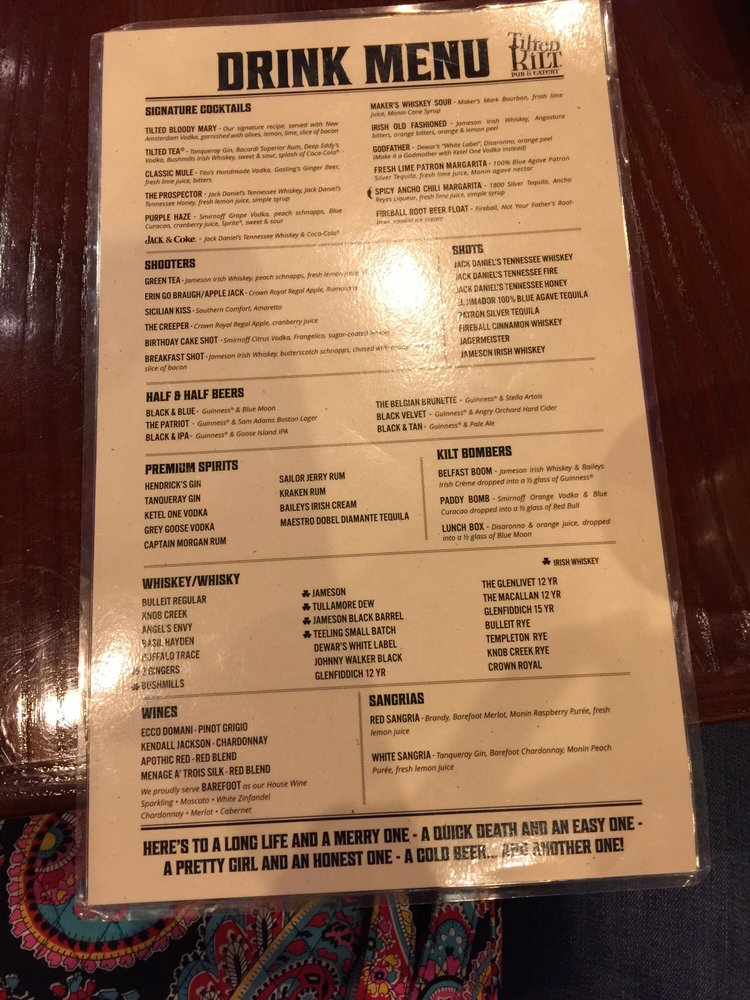 Tilted Kilt Drink Menu
