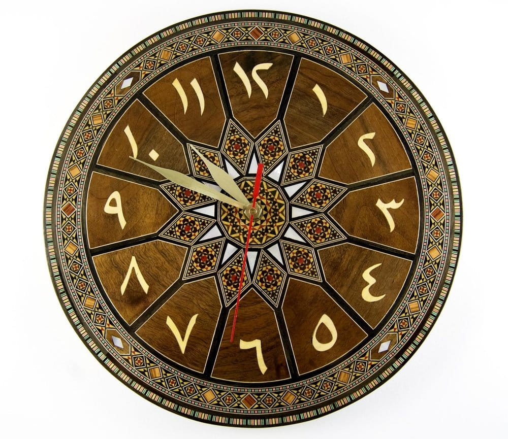 Mosaic Wall Clock W Arabic Numbers Hand Made In Damascus