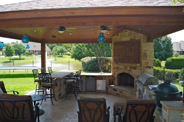 Porch Setup With Covered Roofing Outdoor Kitchen And