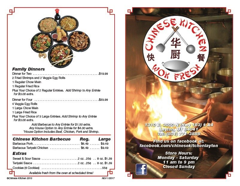 Chinese Kitchen Layton Menu