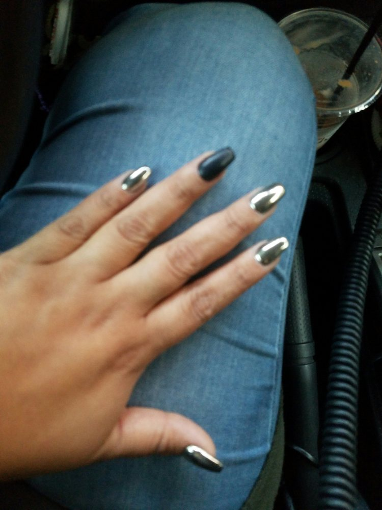 Chrome nails with a matte black ring finger ... love it! - Yelp