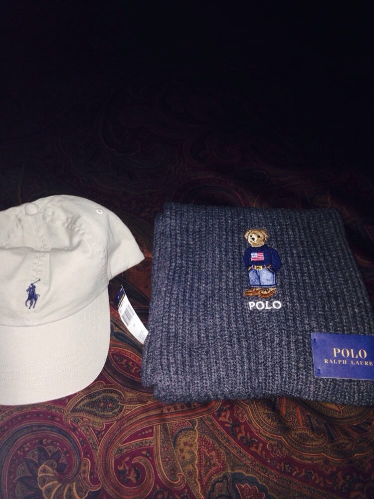 f570fefbdec Polo classic hat and cable knit scarf with American flag bear old ...