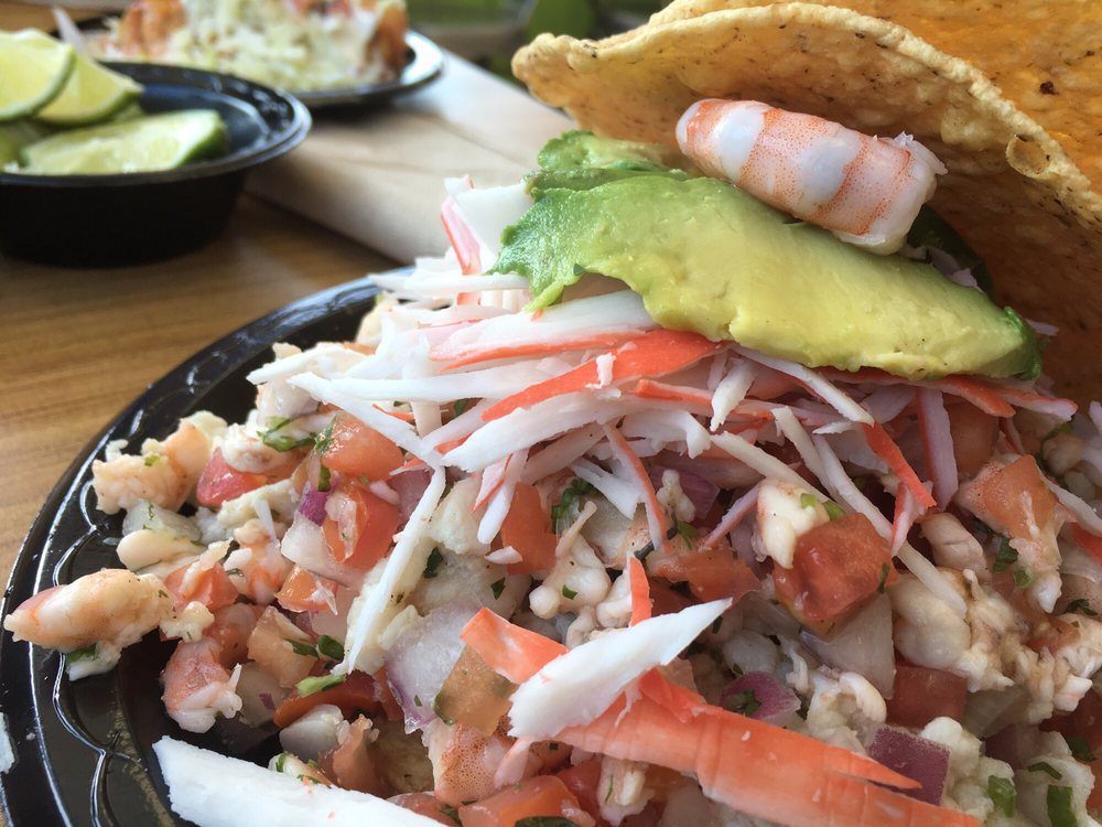 Mixed seafood ceviche tostada filling yelp for California fish tacos