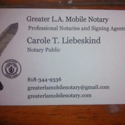 Photo Of Greater La Mobile Notary Tarzana Ca United States Business Card