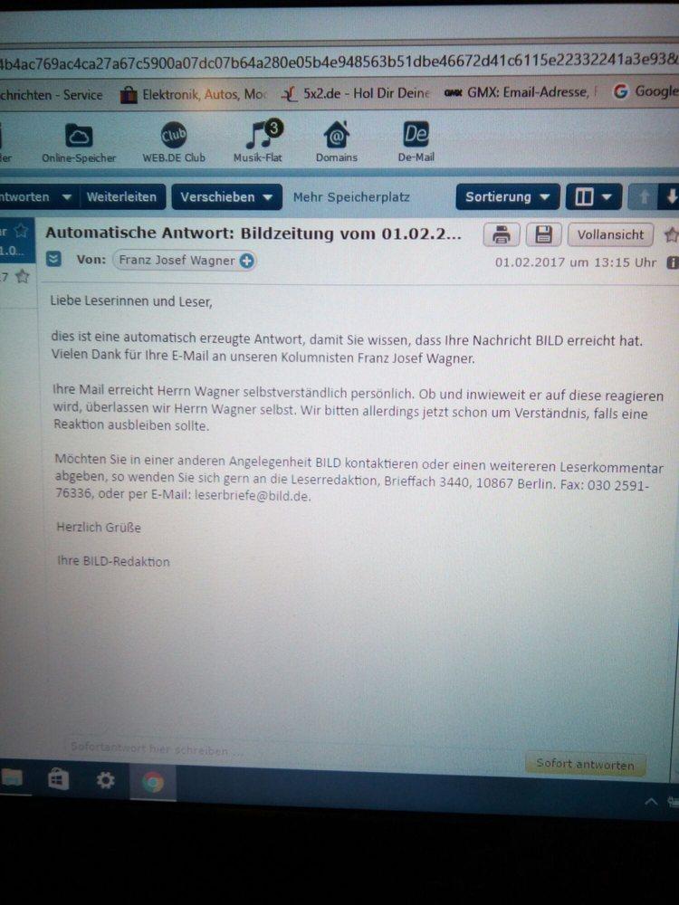 Habe Heute An Den Tollen Kolumnist F J Wagner Eine Email Gesendet Und Se Antwort Erhalten Danke Nach Berlin Yelp
