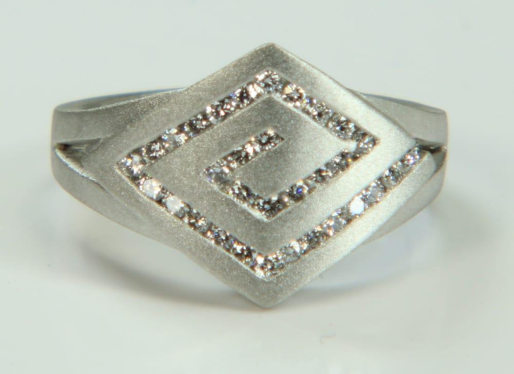 Custom Made Platinum And Diamond Greek Key Infinity Symbol With