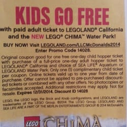 28+ active Legoland coupons, promo codes & deals for Dec. Most popular: LegoLand: Buy 1 Adult Ticket Get 1 Child Free Ticket. Log in; How much can you save on Legoland using coupons? Our customers reported an average saving of $ Is Legoland offering BOGO deals and coupons? Yes, Legoland has 6 active BOGO offers.