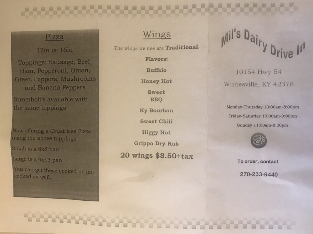 Mil's Dairy Drive In: 10154 State Route 54, Whitesville, KY