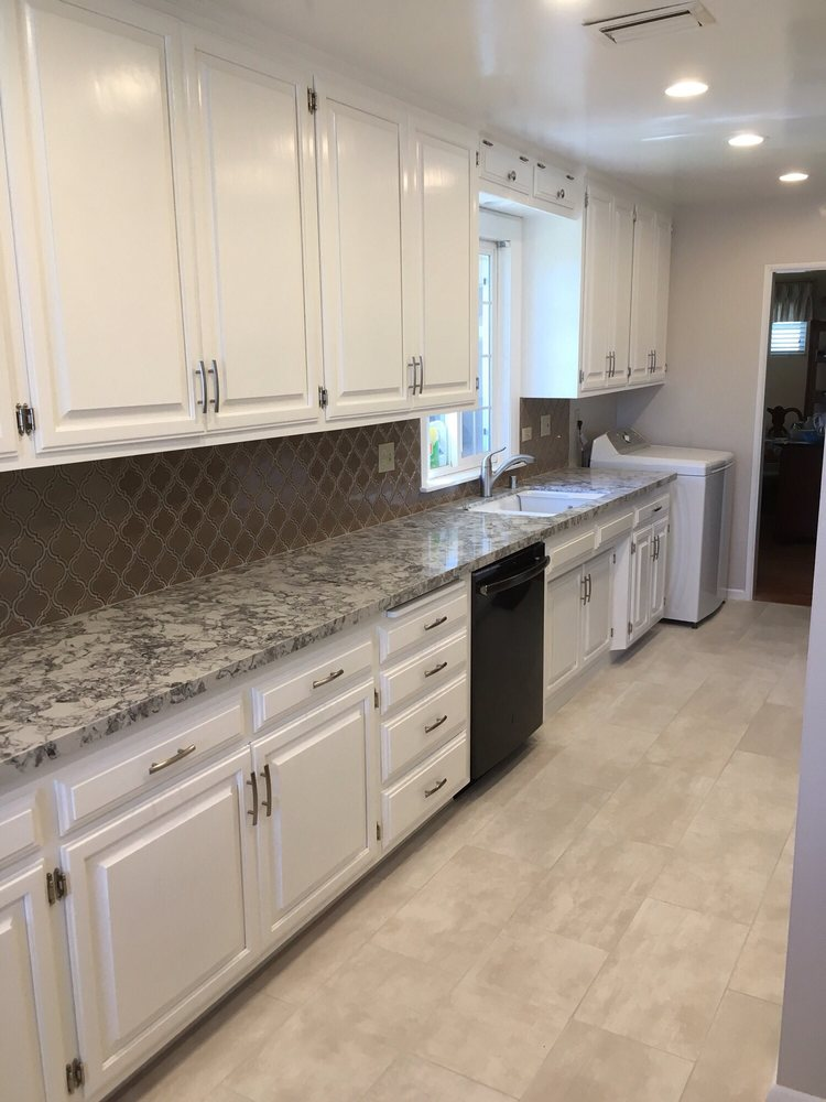 Kitchen Cabinet Refinish Upgraded Counter Tops And Backsplash Yelp