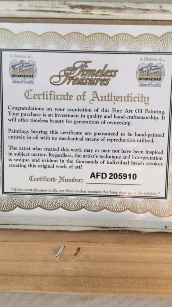 Deceiving COA - Certificate of Authenticity. - Yelp