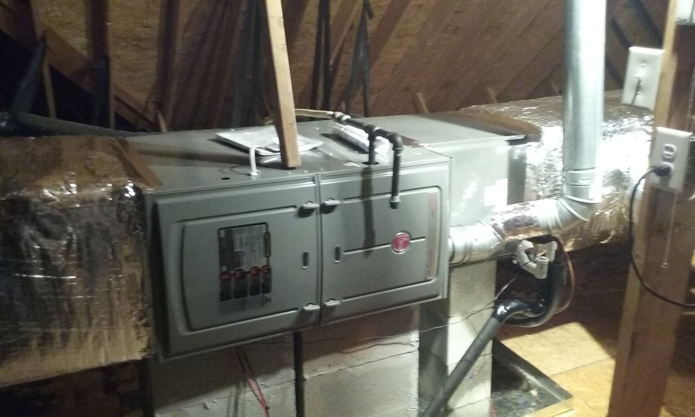 Rheem 80 Non Condensing Gas Furnace And Coil Installed In