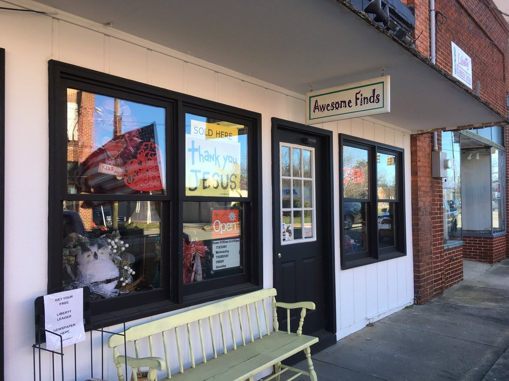 Awesome Finds Vintage Thrift & Gift Shop: 129 W Swannanoa Ave, Liberty, NC