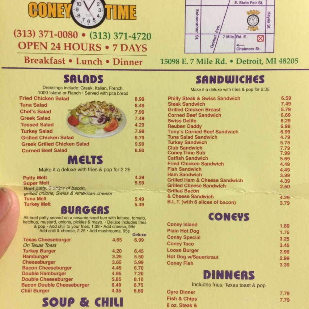 United Coney Island Menu