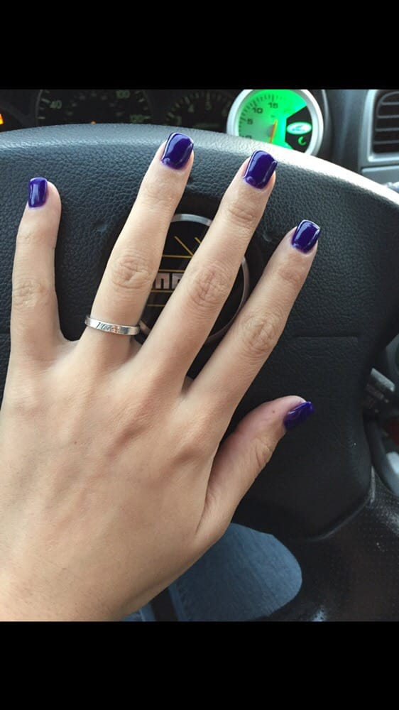 Super short acrylic nails with gel color - Yelp