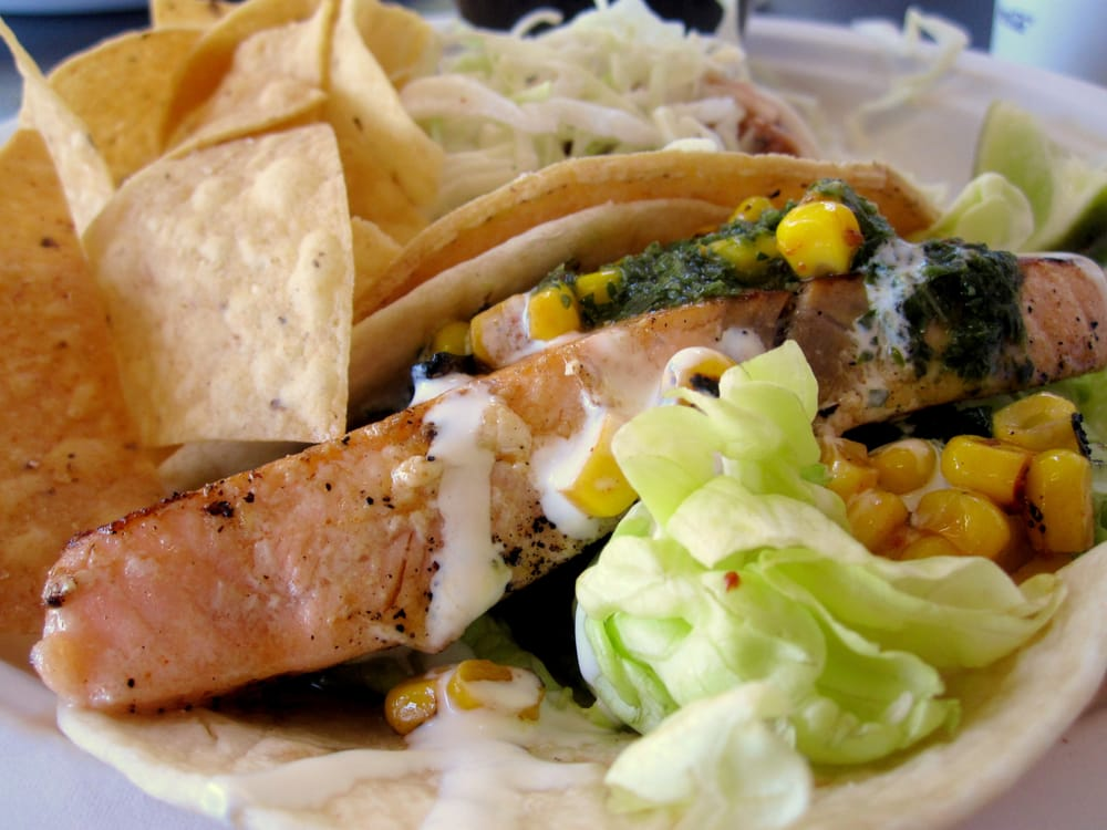 Original fish taco and chimichurri salmon taco yelp for Rubio s coastal grill the original fish taco