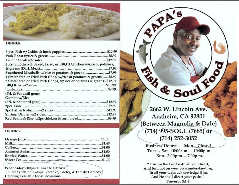 Menu 1 yelp for Soul fish menu