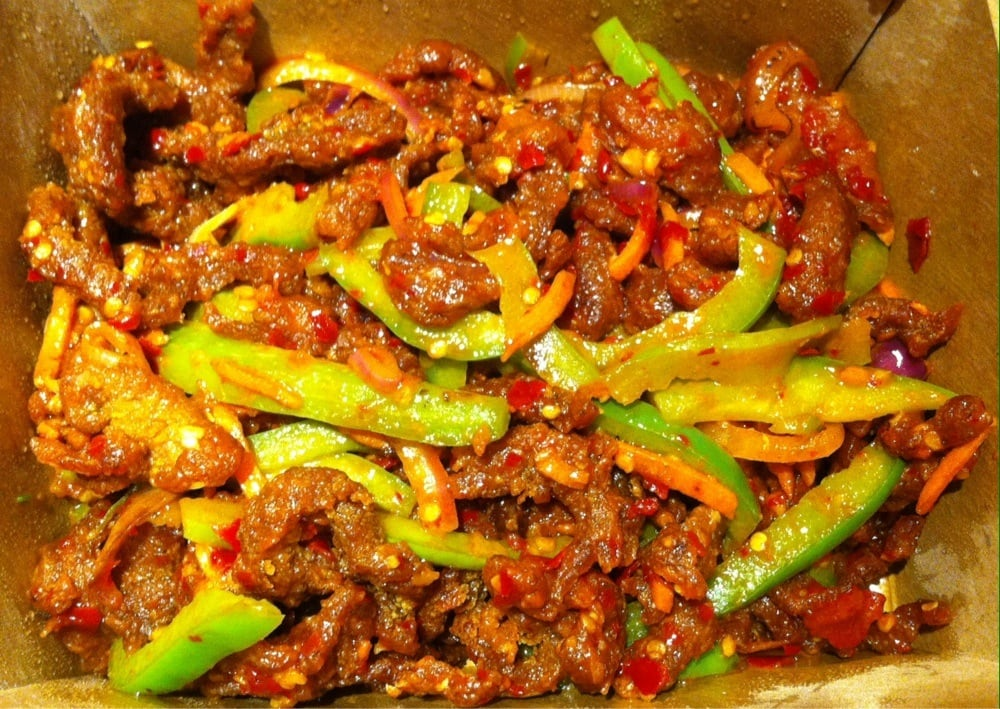 Sliced lamb hot garlic w green bell peppers onions in a classic szechwan style chili garlic for Inchin s bamboo garden sunnyvale