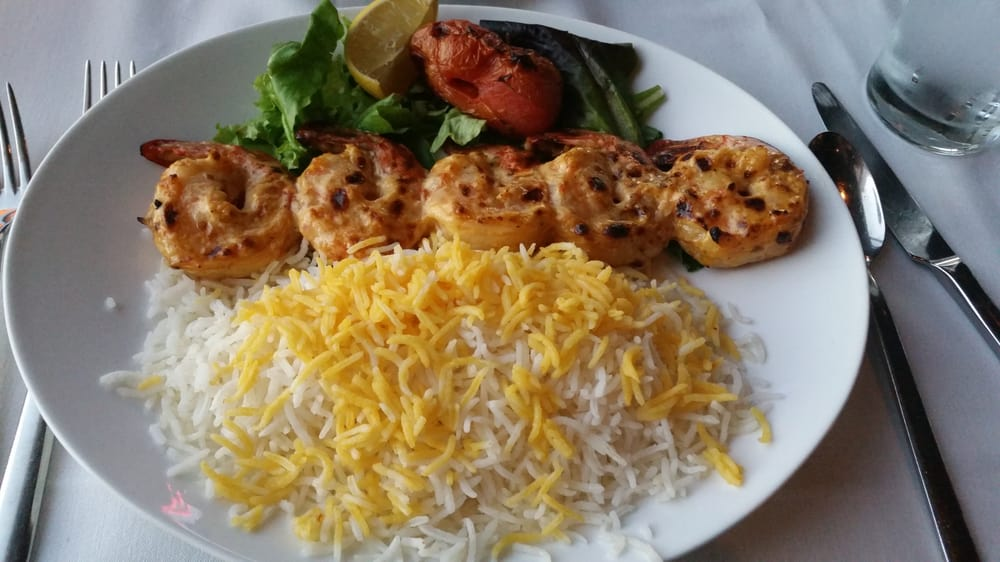 Shrimp kabob with basmati rice yelp for 1001 nights persian cuisine groupon