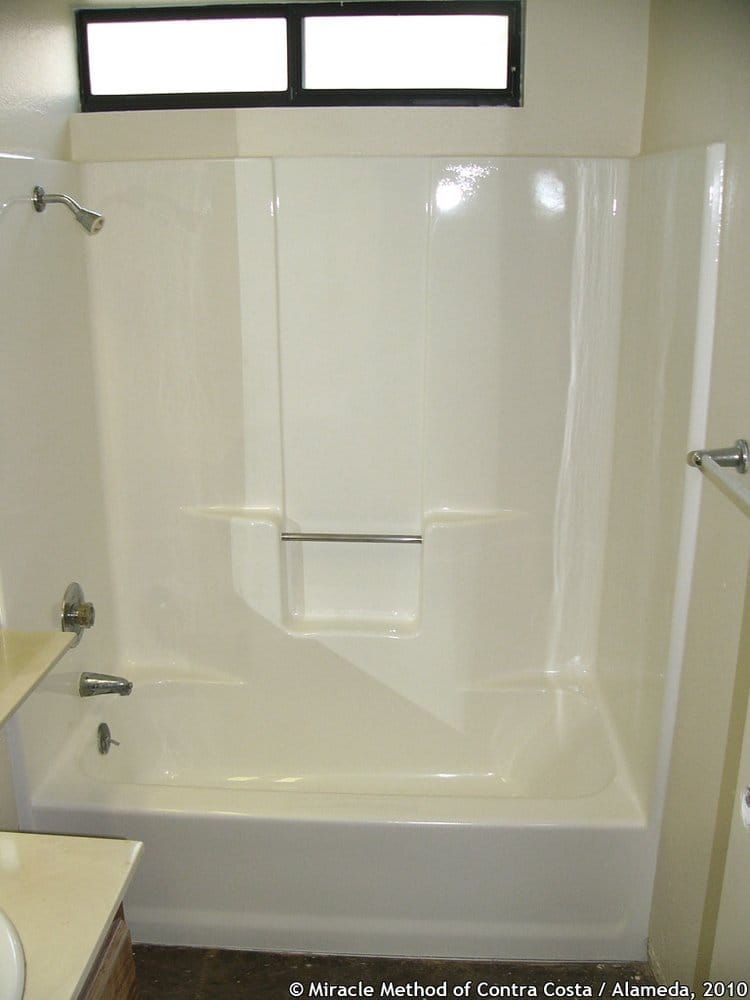 Fiberglass tub/shower unit in gloss white - Yelp