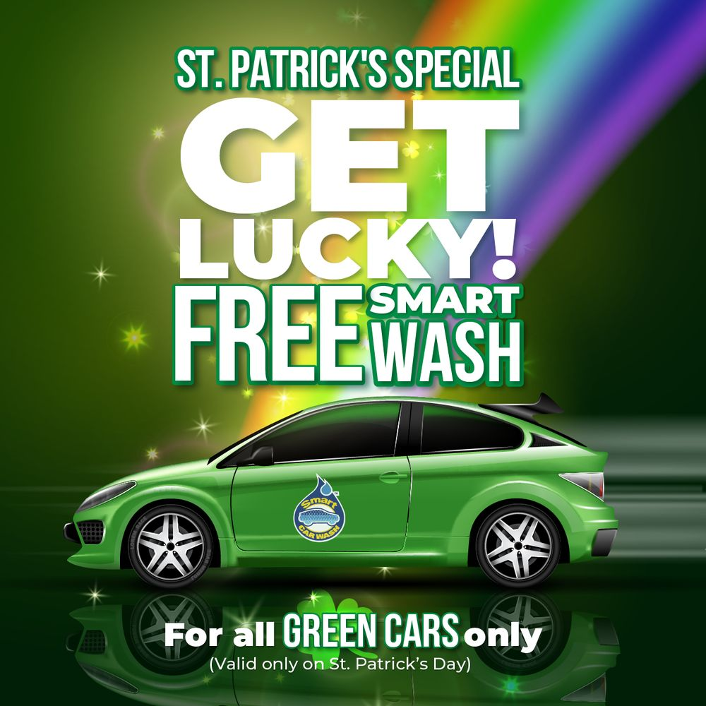 Smart Car Wash >> Free Smart Car Wash For All Green Cars Valid Only On St Patrick S