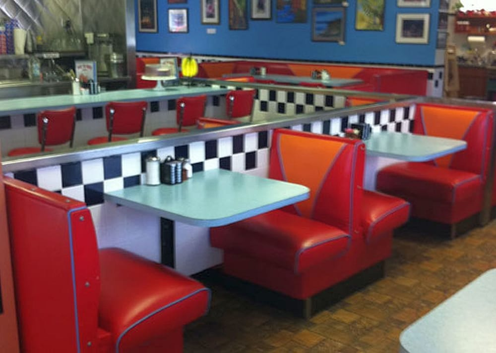 Classic 50s-style diner booths and decorations - Yelp