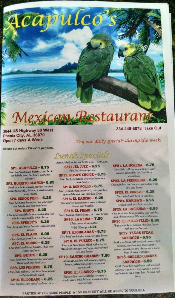 Acapulco's Mexican Restaurant: 3844C US Hwy 80 W, Phenix City, AL