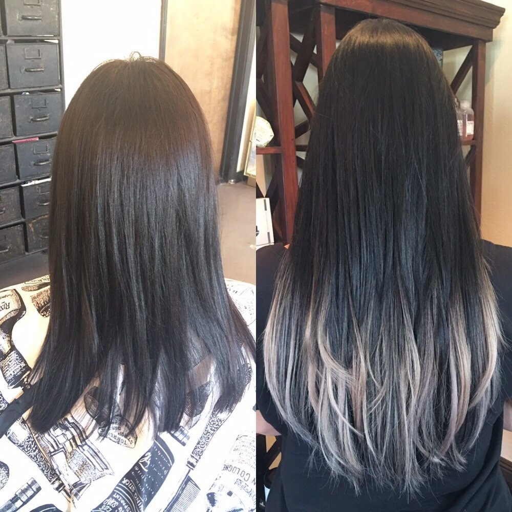 Before And After Silver Ombr Using Only Hotheadshairtalk Tape In