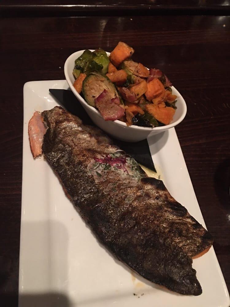 Blackened trout with daily veggies sweet potatoe for Humboldt farm fish wine