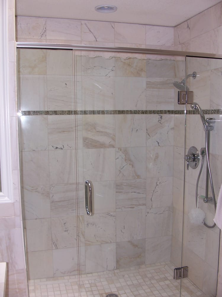 Chipped glass custom shower door set off this custom bathroom in ...