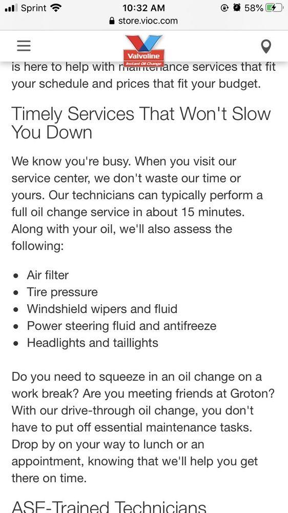 Valvoline Instant Oil Change: 1091 Poquonnock Rd, Groton, CT