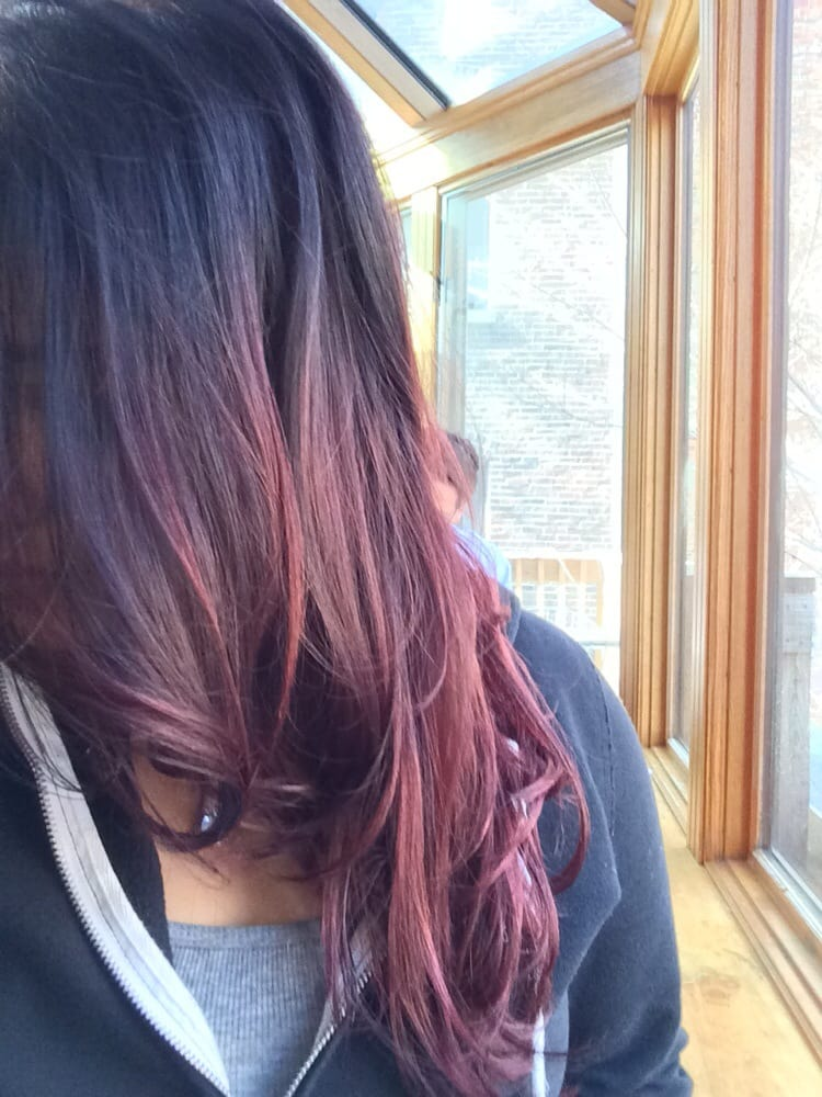 Red/violet ombre hair color done by Jaime - Yelp