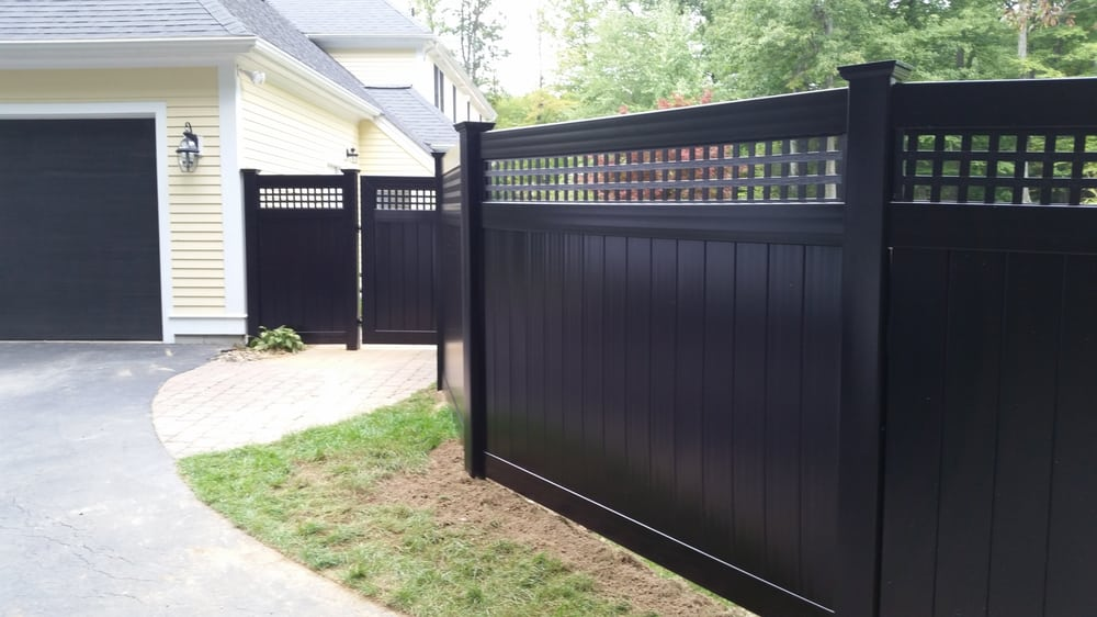 Black Vinyl 6 Square Lattice Top Privacy Fence Sutton