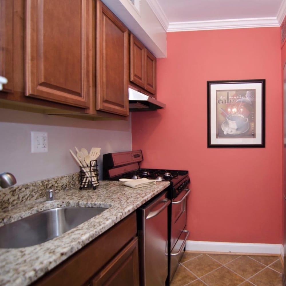 Designer Kitchen With Granite Countertops & Cherry Maple