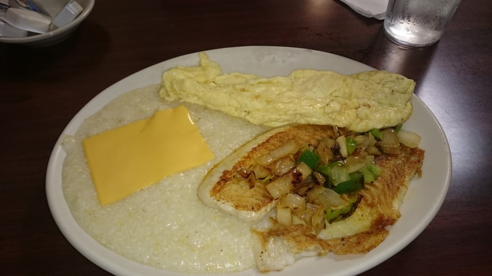 Grilled fish with cheese grits eggs superb yelp for Fish and grits