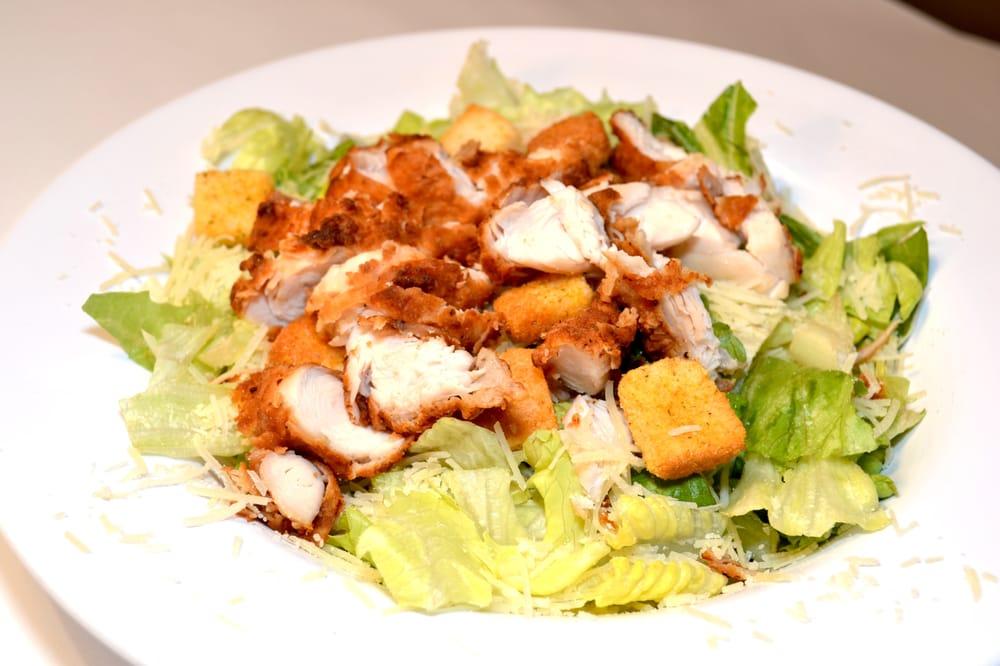 Fried Chicken Caesar Salad caesar salad w/ fried chicken pieces. yelp