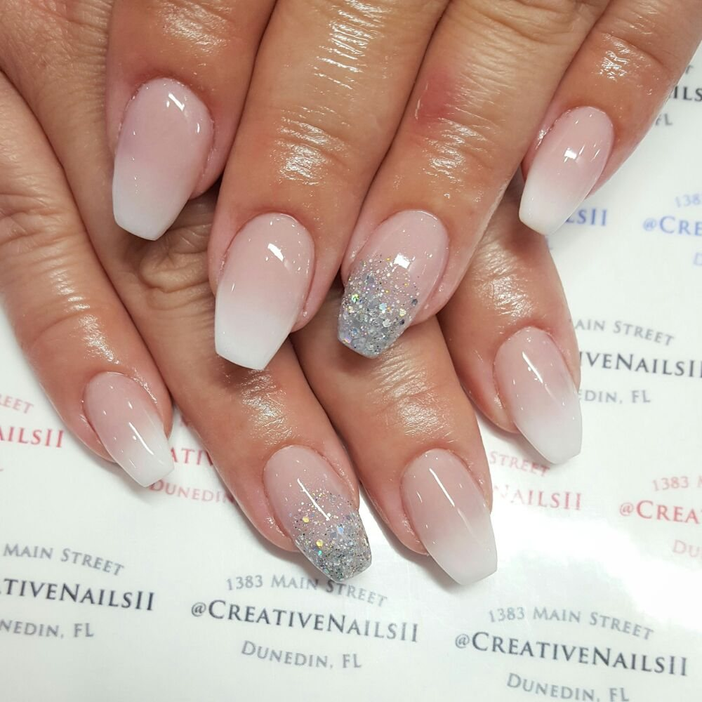 Acrylic coffin shaped nails with acrylic French ombre design with ...