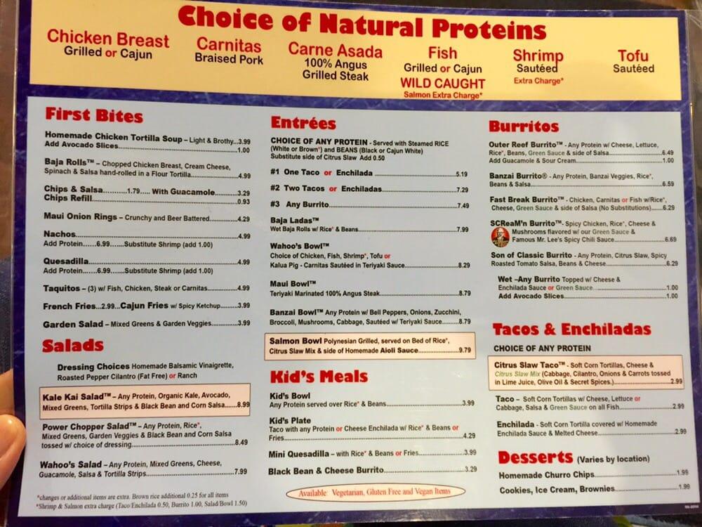 Menu as of february 2015 yelp for Fish taco menu